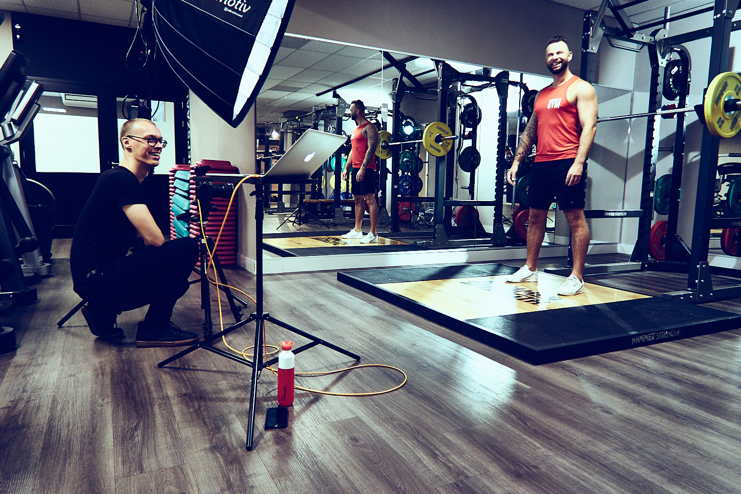 Backstage High end luxury photoshoot in gym at daniels amsterdam by mark koolen boutique photography corporate sportphotography with models athletes and fitness equipment
